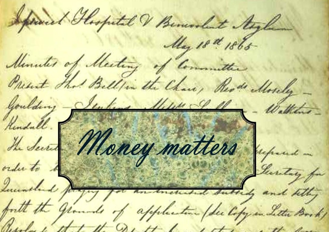 Just a minute in 1865:  Money matters