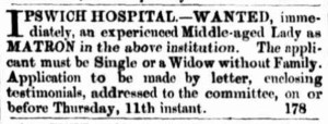 matron advertisement Courier Mail 5 January 1866