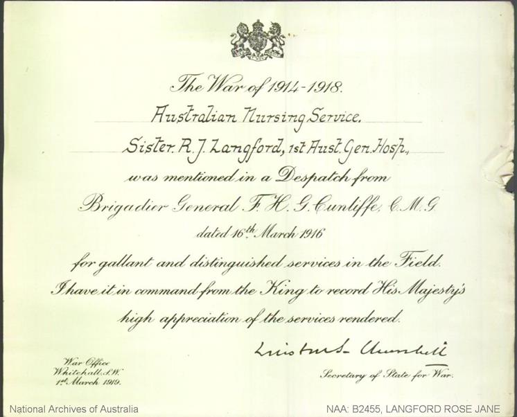 Rose Jane Langford certificate